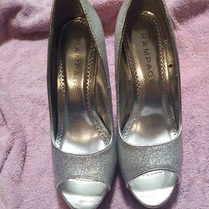 Rampage silver glittery peep toe heels